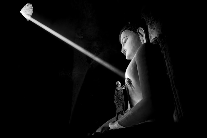 Gunarto Gunawan (Indonesia) - Cleaning the Buddha, Conceptual - Monochrome Awards, 3rd Place Winner (Professional)