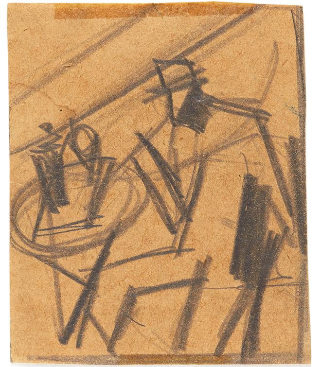 Mario Sironi - Bevitore al caffè, 1925-26, opera su carta, cm 8,7x7,2
