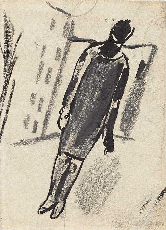 Mario Sironi - Paesaggio urbano con figura femminile, 1927-28, opera su carta, cm 9x6,8
