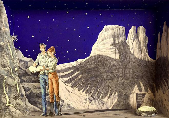 Vanni Cuoghi - Monolocale 66, 2017, Fluoro nel deserto, acrilico e acquerello su carta, cm 35x50