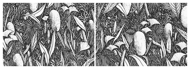 Tellas - The forest, MAGMA Gallery, 24 x 64 cm ink on paper