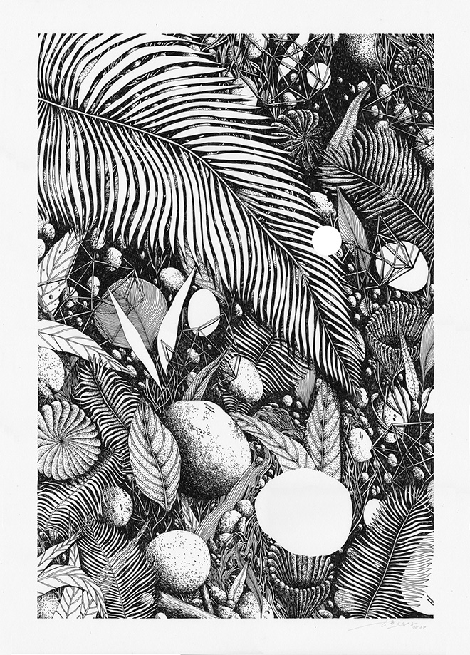 Tellas - Tropico 6, MAGMA Gallery, ink on paper 50x70 cm