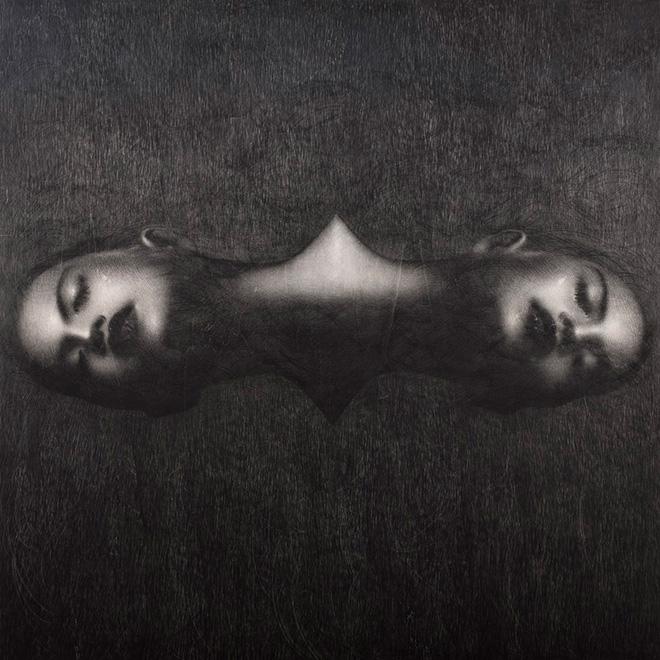 Omar Galliani - Grande Disegno Siamese, 2004, grafite nera su tavola, cm 150x150
