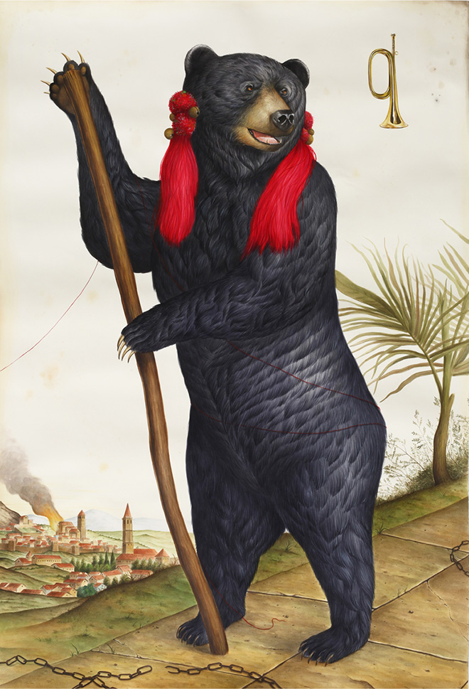 El Gato Chimney - Otto mesi d'inverno e quattro d'inferno, 200x135cm, 2017, watercolor and gouache on cotton paper.