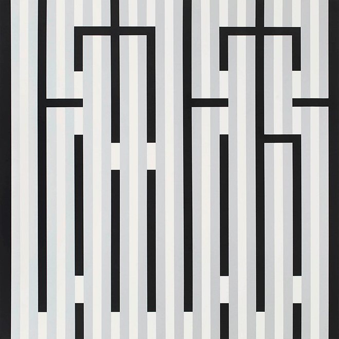 L'Atlas - Silver Lines, spray paint on canvas, 2017
