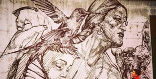 Giovanni Manzoni Piazzalunga - Murale Coronilla, street art al Parco Da Campione di Bergamo