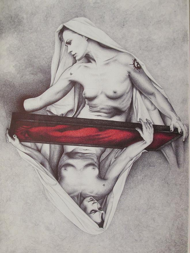Adele Ceraudo - La pietà, 2012, collezione Le affinità elettive, 2011-2013 disegno a bic su carta Fabriano, cm 48x33