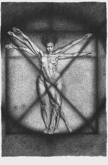 Adele Ceraudo - L'uomo vitruviano, collezione Le affinità elettive, 2011-2013, disegno a bic su carta Fabriano, cm 48x33