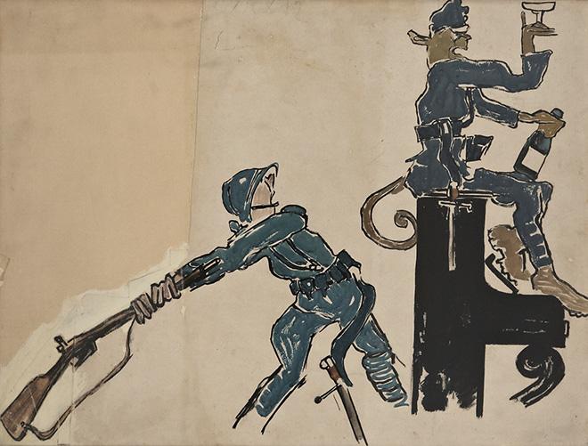 Mario Sironi - La strategia e la tattica spiegate al popolo austriaco, tavola per Il Montello, 1918. tempera su carta, cm 53x70