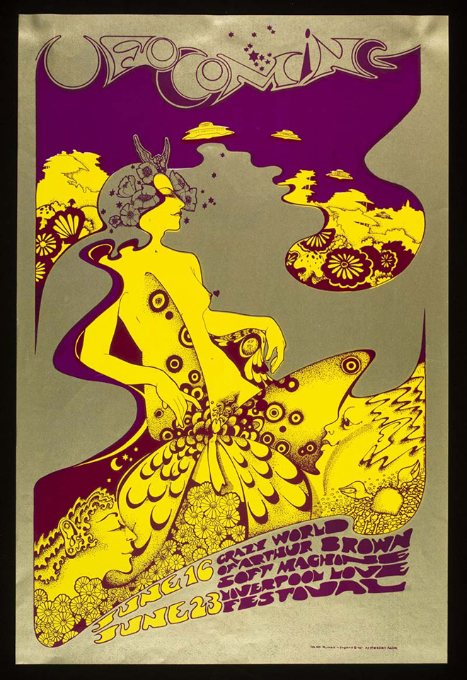 Poster di The Crazy World of Arthur Brown at UFO, 16 and 23 Giugno 1967, Hapshash and the Coloured Coat (Michael English & Nigel Waymouth). ©Victoria and Albert Museum, London