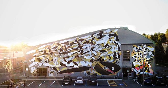 Giorgio Bartocci - Astrazione Reversible, Murale per Totart festival, Novi di Modena, 2017