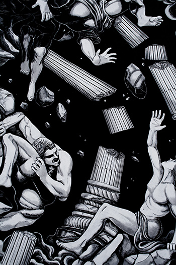 Luca Zamoc - La caduta dei Giganti, TOTART 2017, via Medaglie d'oro 18, Novi di Modena
