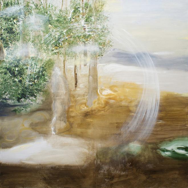 Angelo Bellobono - Territorio, olio e acrilico su tela, 200x200 cm, 2016