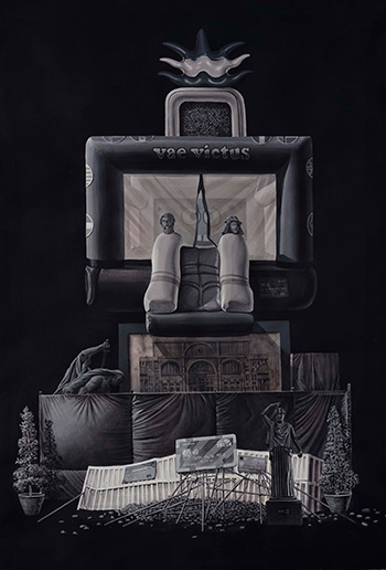 Daniel Muñoz - Barricada2, Gouache on paper, 76x112cm, 2017