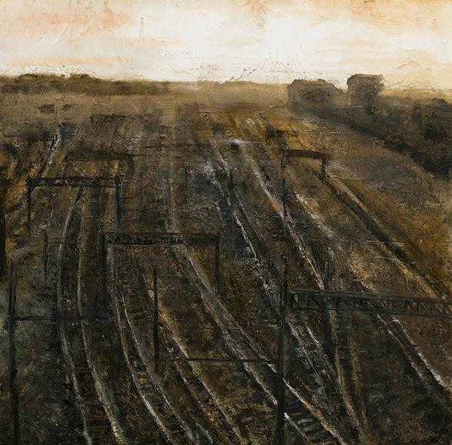 Filippo Cristini - Pietra nebbia acciaio, 2016, olio e colla vinilica su tela, cm 100x100