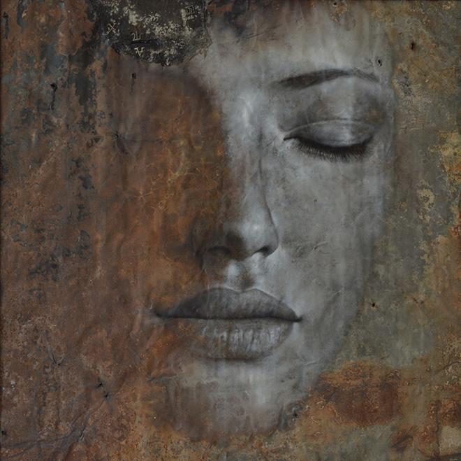Max Gasparini - Argentum, 2013, olio e catrame su lamiera di metallo, cm 103x103