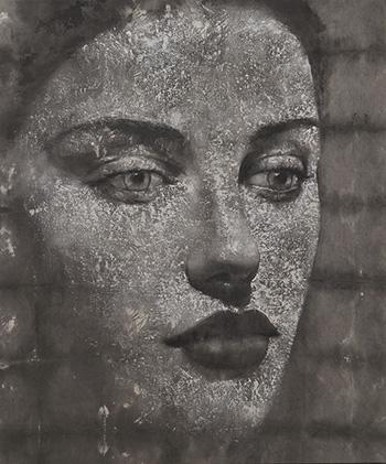 Max Gasparini - Ariel, 2016, acrilico e stucco su tela grezza, cm120x100