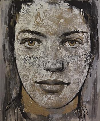 Max Gasparini - Intence, 2017, acrilico e stucco su juta su cartone, cm 150x120
