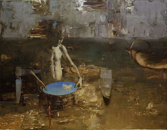 Mozes Incze - Cloudcatcher, 2015, olio su tela, cm 110x140