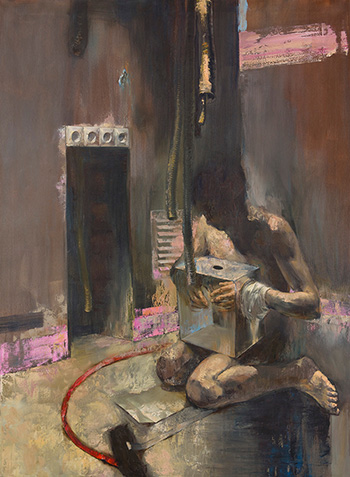 Mozes Incze - Intervention, 2013, olio su tela, cm 150x110