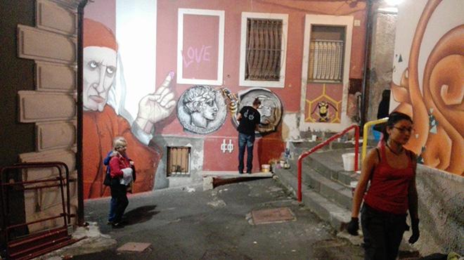 Badia Lost and Found - Lentini: arte e rigenerazione urbana. Mural by Roberto Colledoro + Corrado Inturri (work in progress)