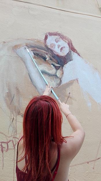 Badia Lost and Found - Lentini: arte e rigenerazione urbana. Mural by Agnes Cecile