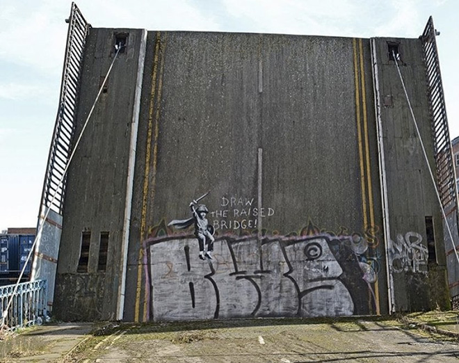 Banksy - Draw the Raised Bridge, Scott Street a Kingstone upon Hull, UK, 2018