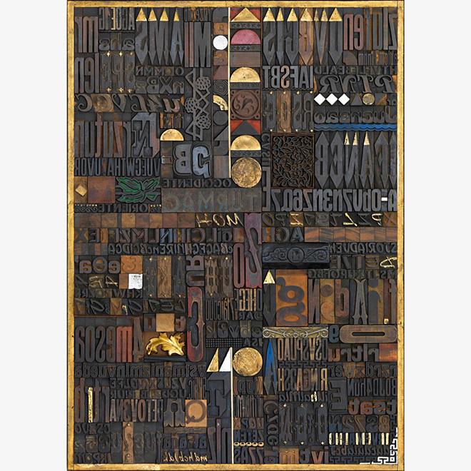 Giorgio Milani - Oriente Occidente, 2007, assemblaggio di fregi e caratteri tipografici di legno, 140x100