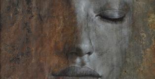 Max Gasparini - Argentum (detail), 2013, olio e catrame su lamiera di metallo, cm 103x103