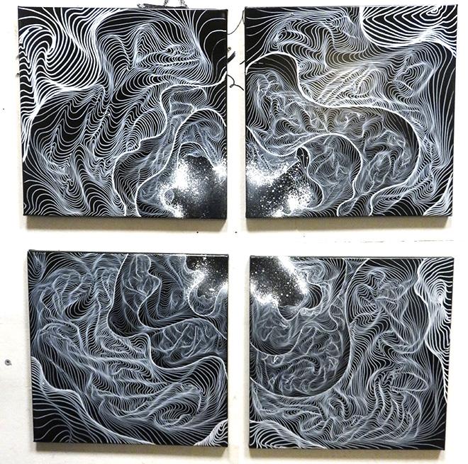 AweR - Ragione Mentale, acrilico e spray su tela, Underwater Circus, installation view, Galleria Portanova12, Bologna