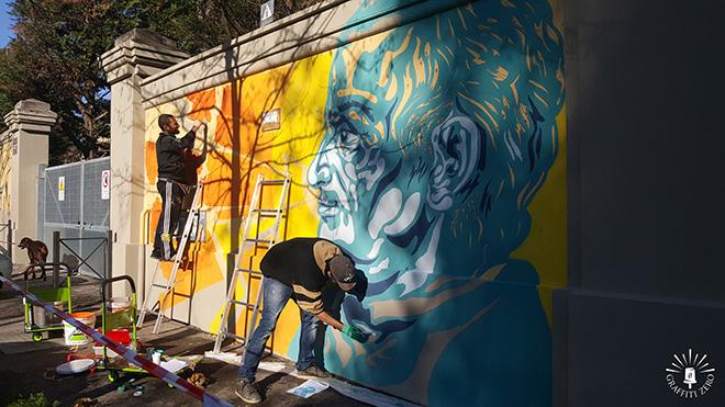 Andrea Marrapodi (Kiv), Gregorio Pampinella - Lazzaro Spallanzani, murales di via Folchi a Roma, Ospedale Spallanzani