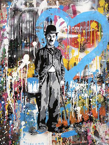Mr. Brainwash - Chaplin, 2017, tecnica mista su carta, cm 76,2x57,1