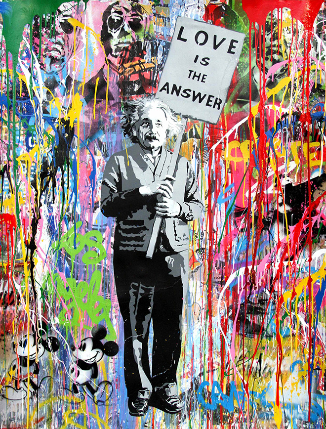Mr. Brainwash - Einstein, 2016, tecnica mista su carta, cm 127x96,5