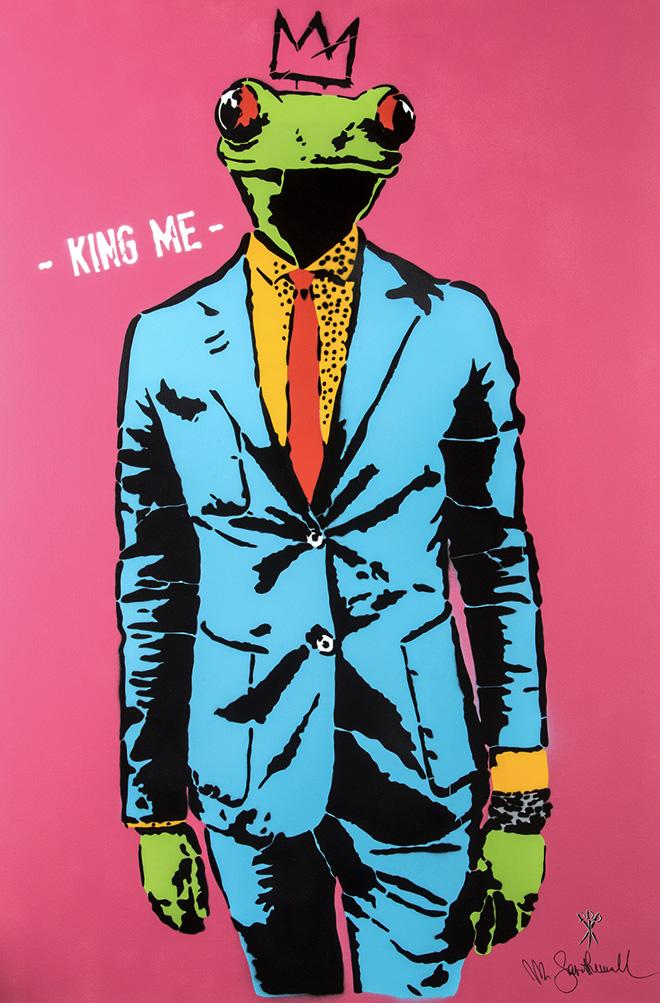 Mr. Savethewall - King me, 2018, tecnica mista su tela, cm 150x100. ©Emanuele Scilleri