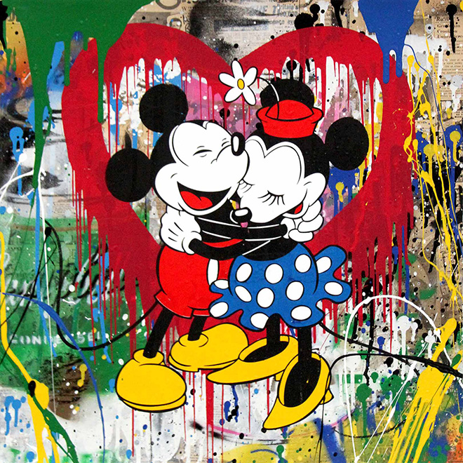 Mr. Brainwash - Mickey e Minnie, 2017, tecnica mista su carta, cm 56x56