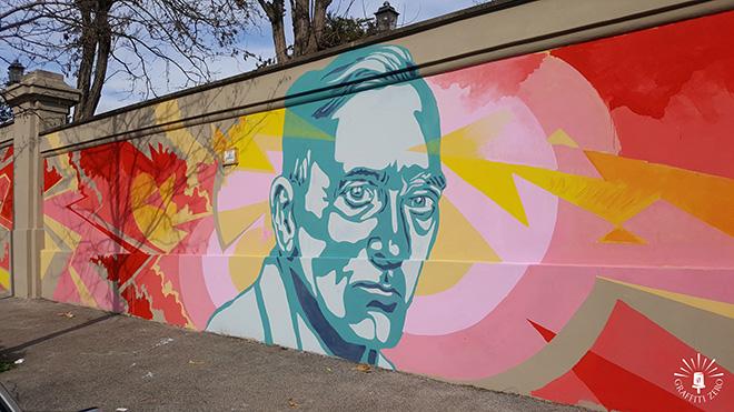 Andrea Marrapodi (Kiv), Gregorio Pampinella, Daniele Tozzi - Alexander Fleming, murales di via Folchi a Roma, Ospedale Spallanzani