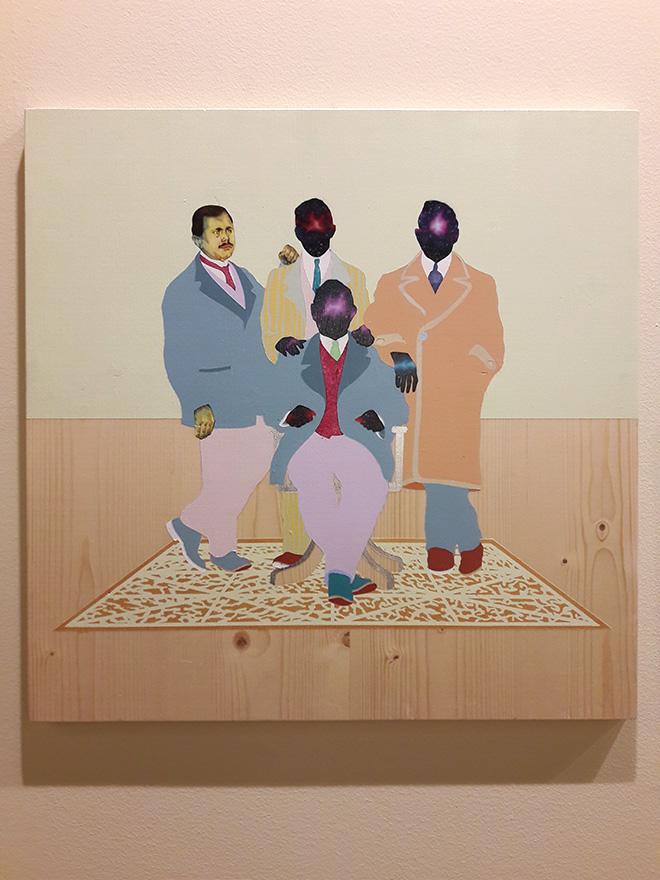 Carlo Alberto Rastelli - Tappeto Volante, 2018, olio, acrilico e foglia d'argento su tavola, 50x50 cm, Five Gallery, (SetUp Contemporary Art Fair 2018)