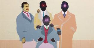 Carlo Alberto Rastelli - Tappeto Volante (detail), 2018, olio, acrilico e foglia d'argento su tavola, 50x50 cm, Five Gallery, (SetUp Contemporary Art Fair 2018)