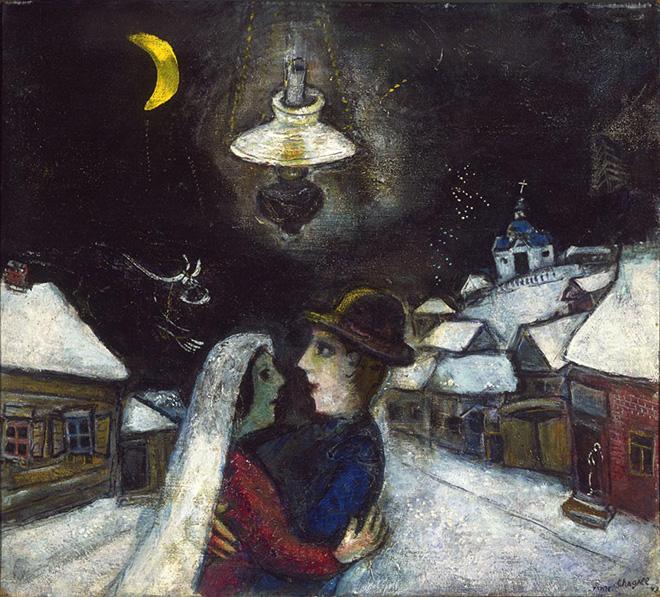Marc Chagall - Nella notte, 1943, olio su tela, 47 x 52.4 cm. Philadelphia Museum of Art, Collezione Louis E. Stern, 1963