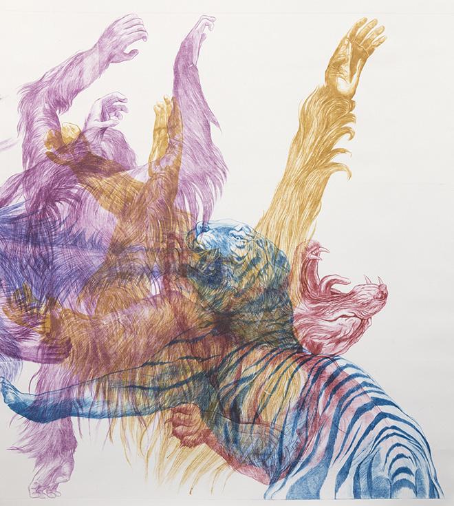 Camille Pozzo di Borgo - Decomposition d'un combat, 2017, incisione punta secca su plexiglass stampata in 5 passaggi su carta. cm 140x120