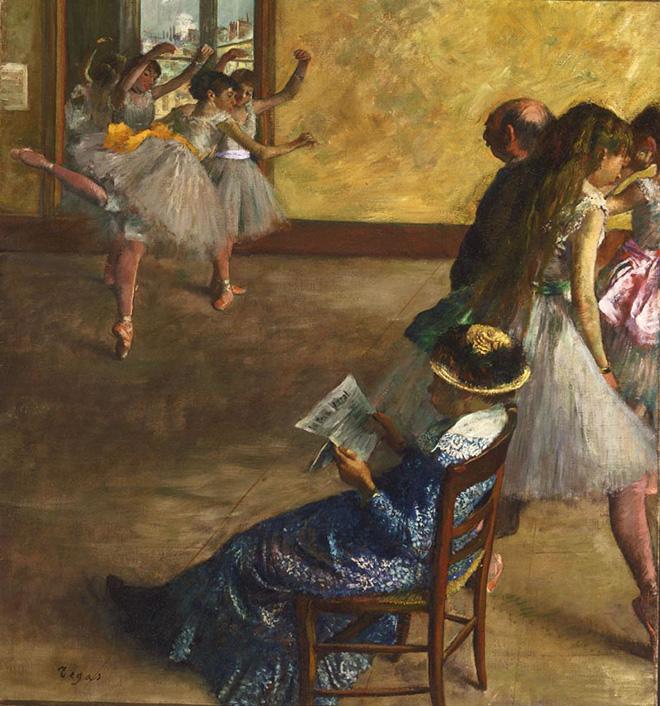 Edgar Degas - La classe di danza, ca. 1880, olio su tela, 82.2 x 76.8 cm. Philadelphia Museum of Art, Acquistato con il W. P. Wilstach Fund, 1937