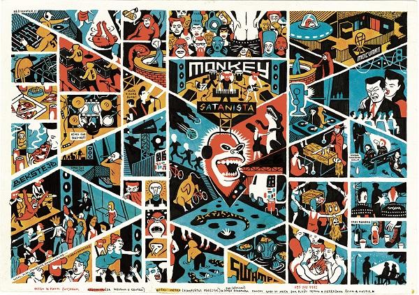 Igor Hofbauer - Monkey Satanista, Tavola originale del manifesto del concerto al Močvara club