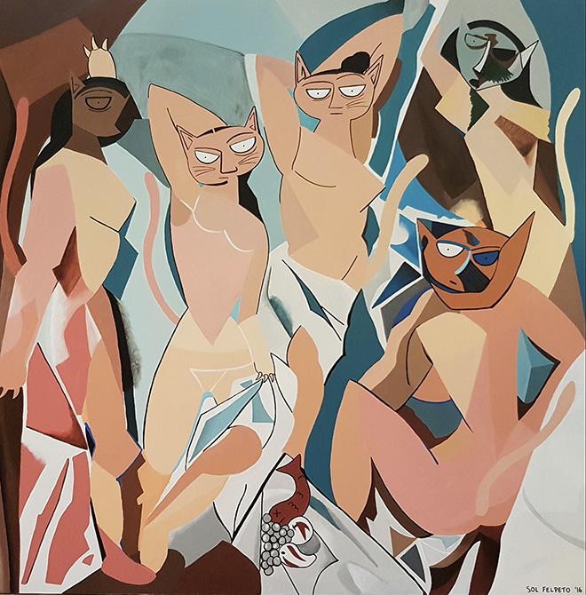 Sol Felpeto - Las Gatas de Avignon, 70x70, Acrylic on canvas, 2018