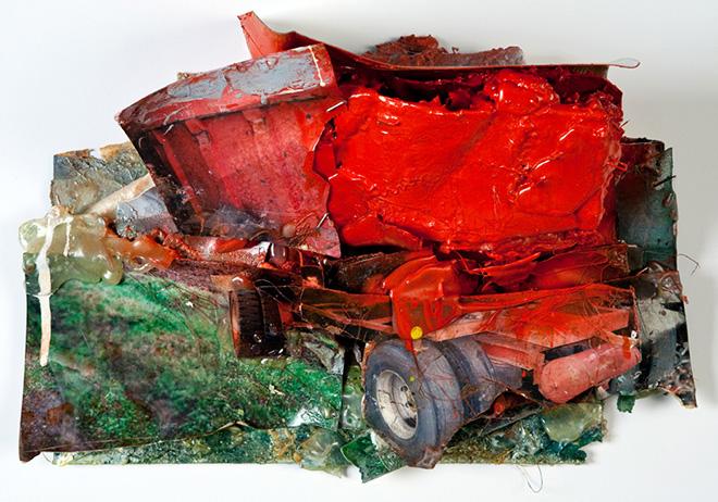Giacomo Cossio - M41, tecnica mista, collage su tavola, 2010
