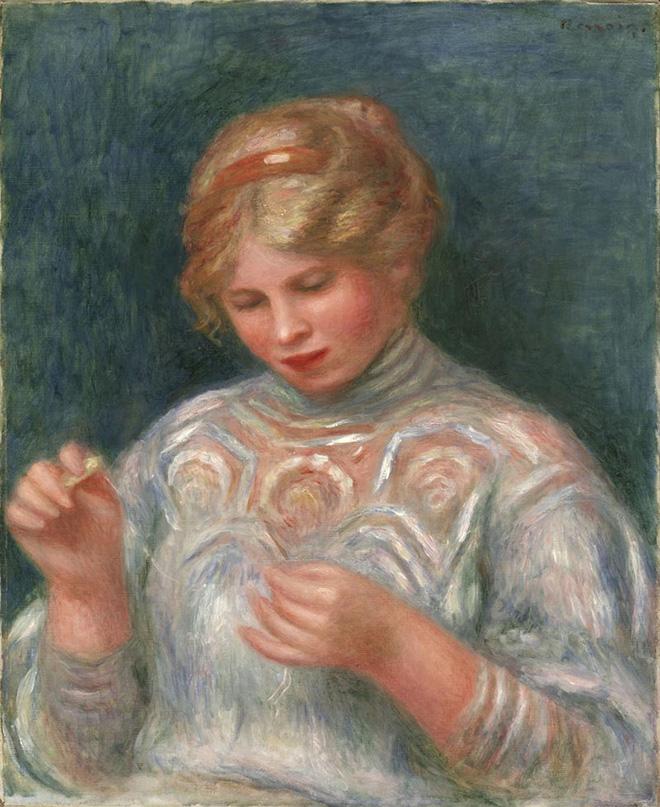 Pierre Auguste Renoir - Ragazza che fa il merletto, ca. 1906, olio su tela, 56.5 x 46.7 cm. Philadelphia Museum of Art, Collezione Louis E. Stern, 1963