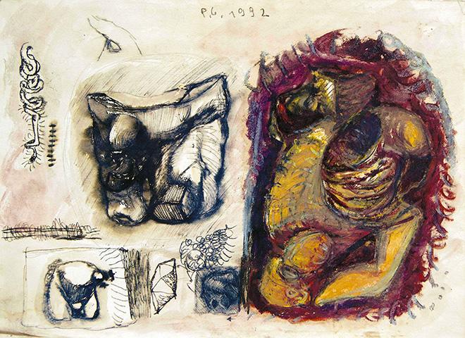 Pietro Geranzani - Disegno 48, 1992, inchiostro, acquarello e pastello su carta, cm 36x50,5