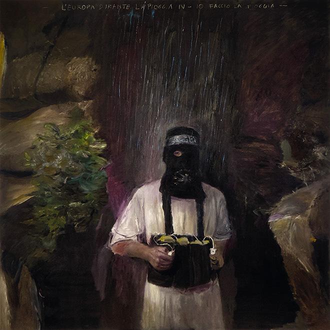 Pietro Geranzani - L'Europa durante la pioggia IV, Io faccio la pioggia, 2018, olio su tela, cm 180x180