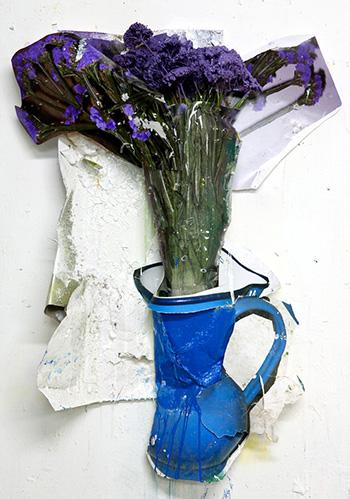Giacomo Cossio - Vaso blu con fiori, tecnica mista collage su tavola, 2010