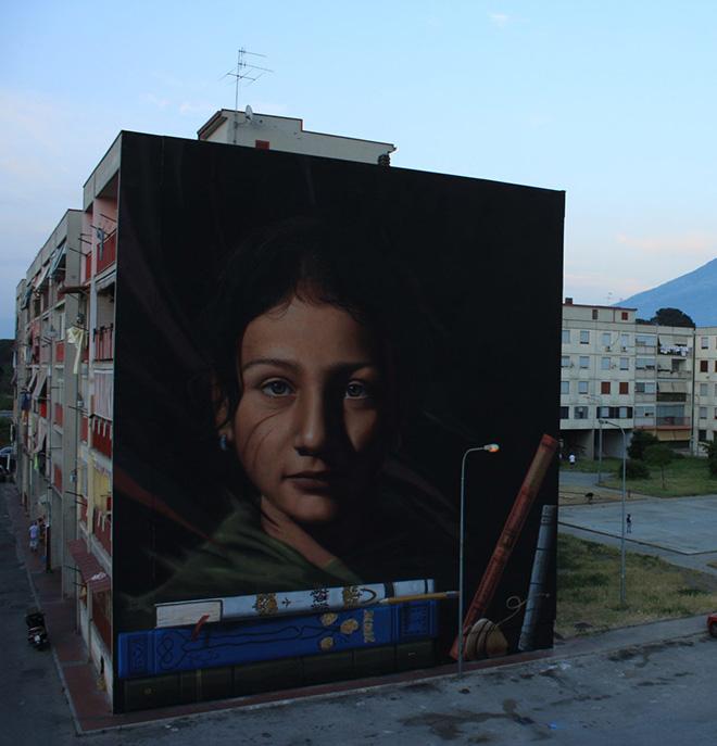 Jorit AGOch - Ael. Tutt'egual song' e criature, Parco dei Murales, Ponticelli, Napoli