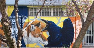 Alessio Bolognesi - La volpe ed il corvo, Athens Street Art Festival, 2018